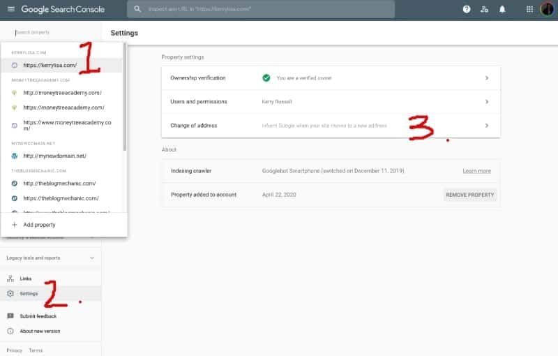 Google Search Console: Change Of Address