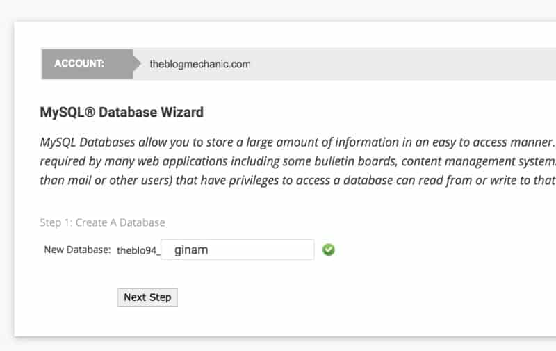 SiteGround screenshot. Give your database a name.