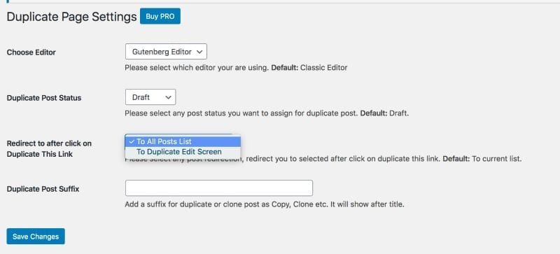 Duplicate Page Plugin Settings