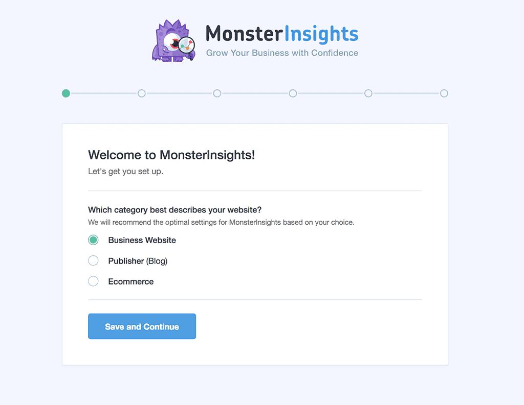 MonsterInsights Screenshot: Choose Website Category