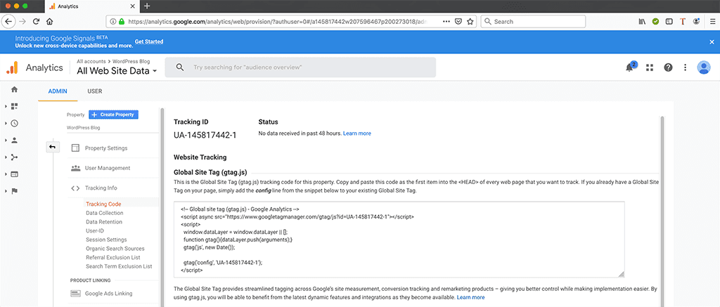 Tracking ID for new Google Analytics Account