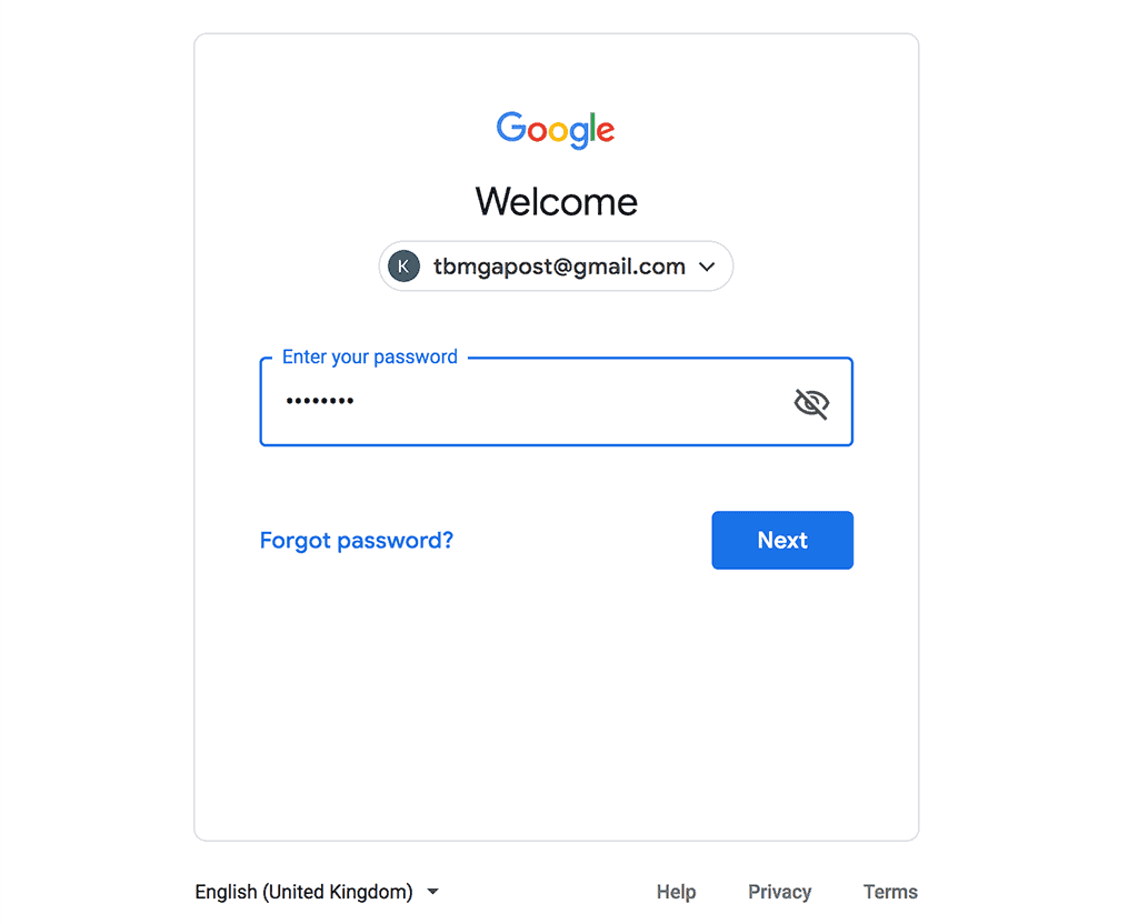 Choose Gmail account to use from list and enter password. Click Next