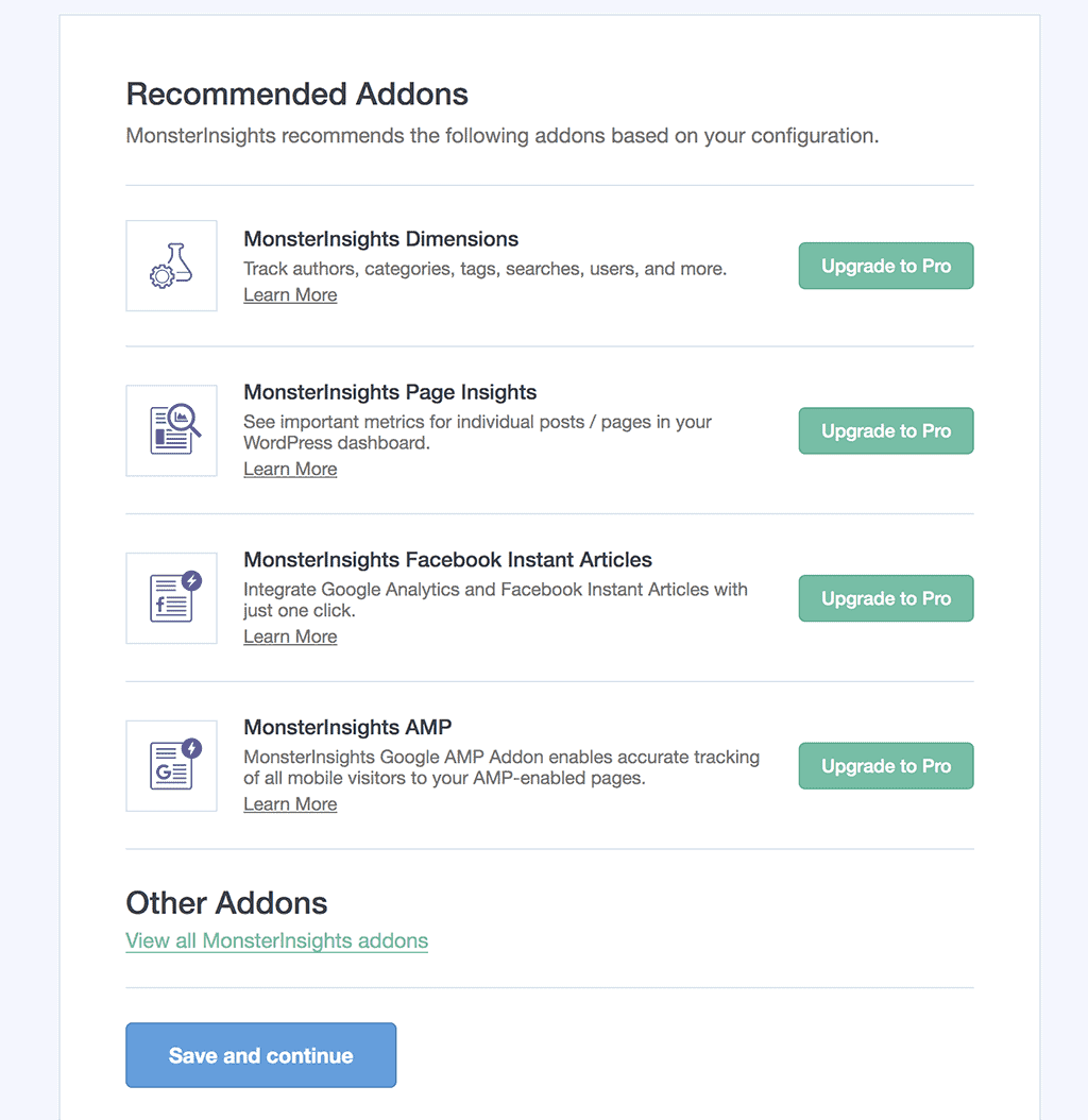 MonsterInsights Recommended Addons Screen.