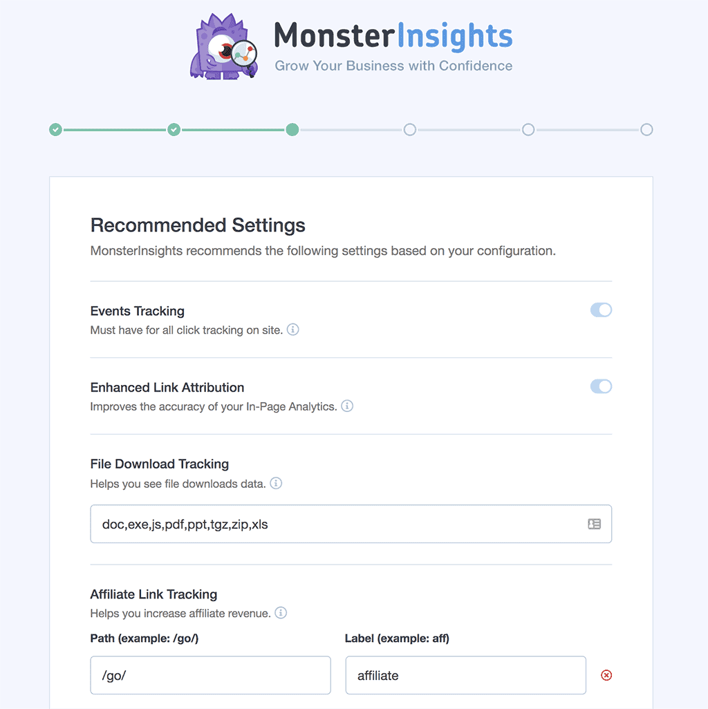 MonsterInsights Recommended Settings Screen