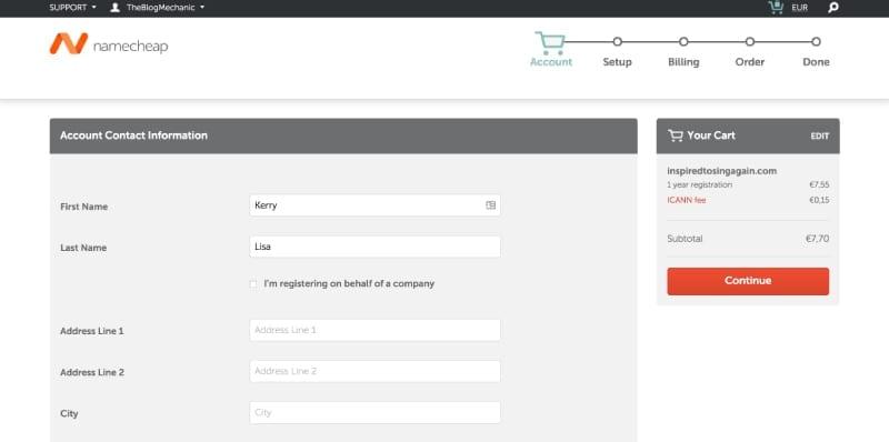 NameCheap enter account information