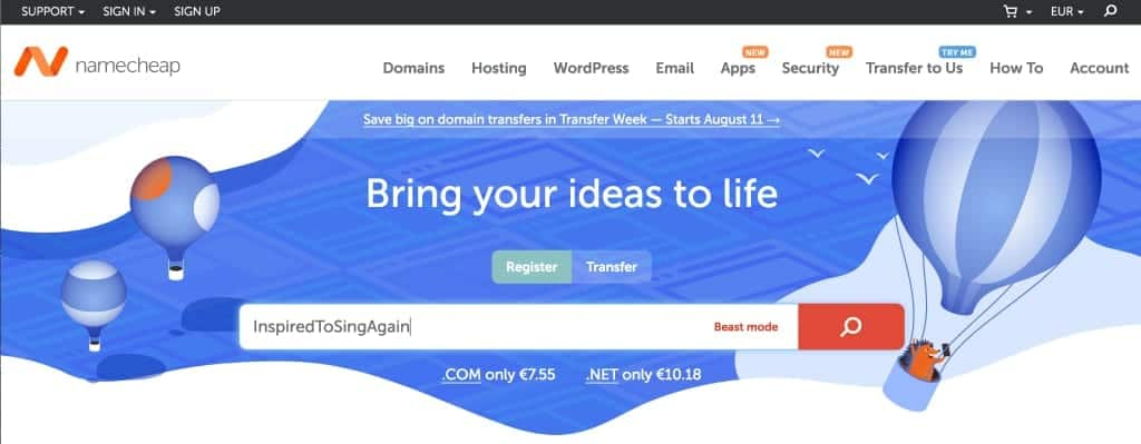 Get started with NameCheap