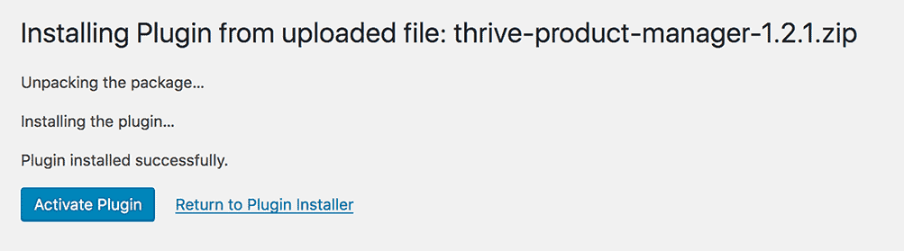 Success Message after you install WordPress plugins