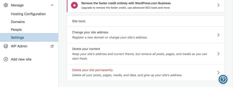 how to delete a wordpress site screenshot
