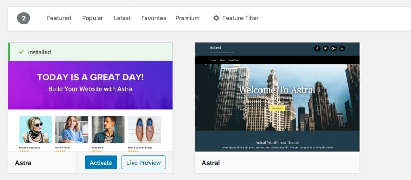 activate and live preview options for a new WordPress theme