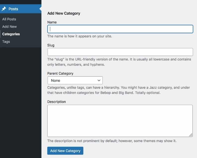 Add a category to WordPress using the post menu