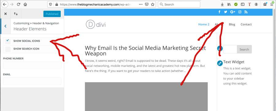 How to add social media icons to WordPress header - Divi