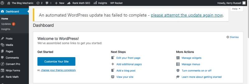 picture of the message: an automated WordPress update has failed to complete