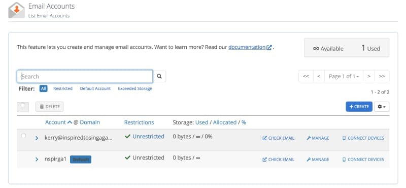New email on email accounts page