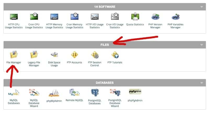 Screenshot of cPanel File Manager