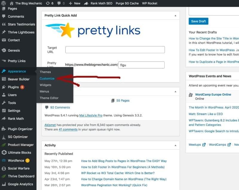 Screenshot of theme editor settings in WordPress