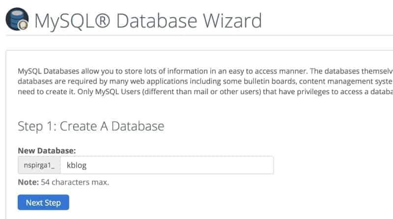 create a database name