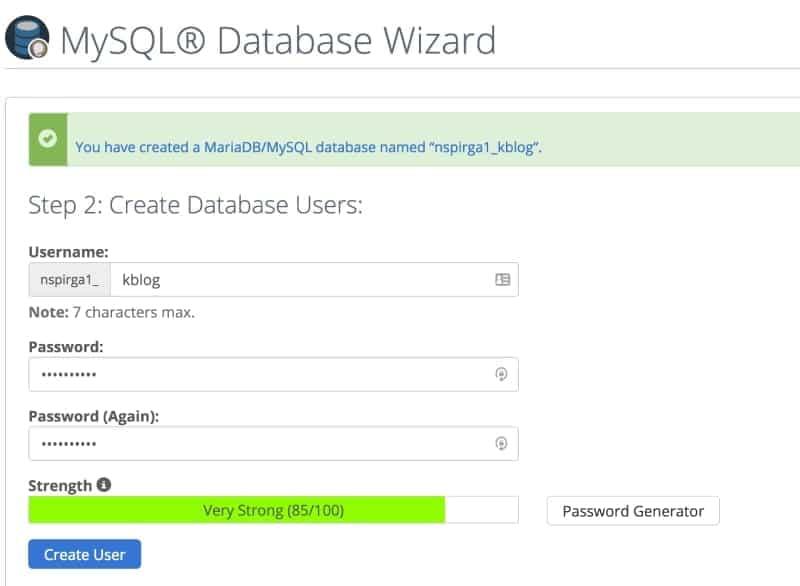 create a database user