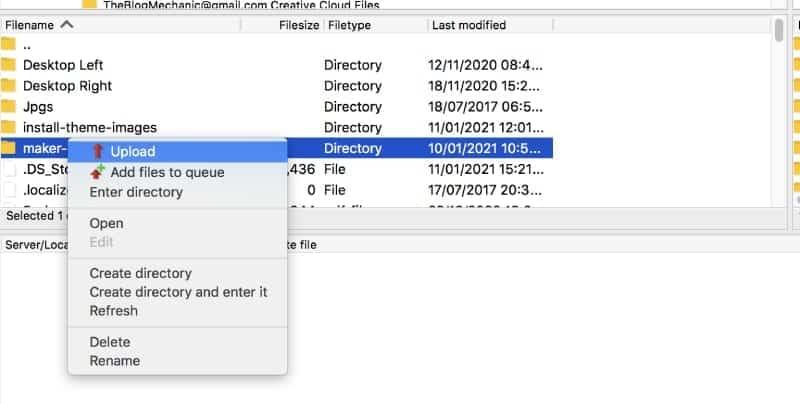 upload theme folder in FileZilla