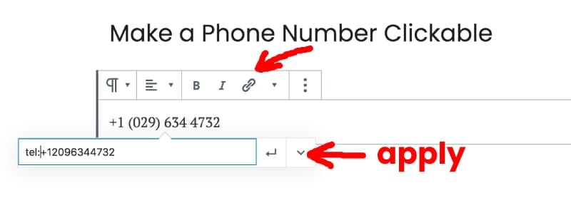 How to make a phone number clickable in WordPress with the editor