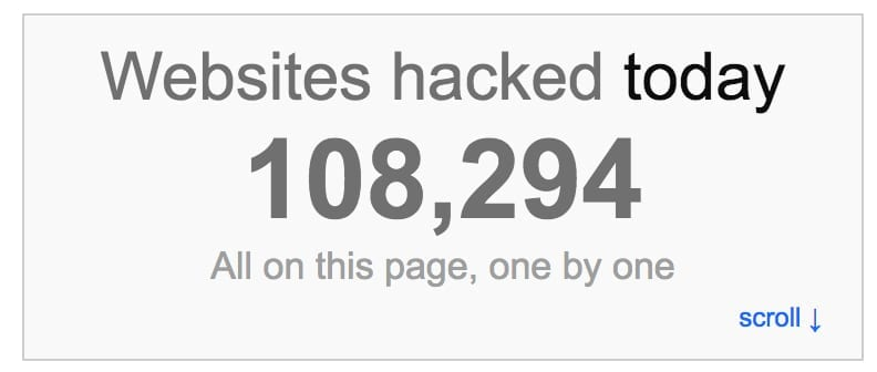 internet live stats screenshot of number of daily hacked websites
