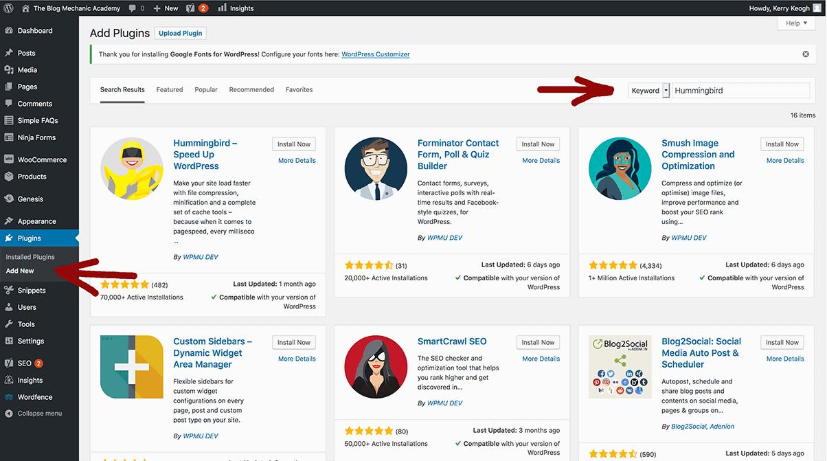 screenshot of using search to install WordPress plugins