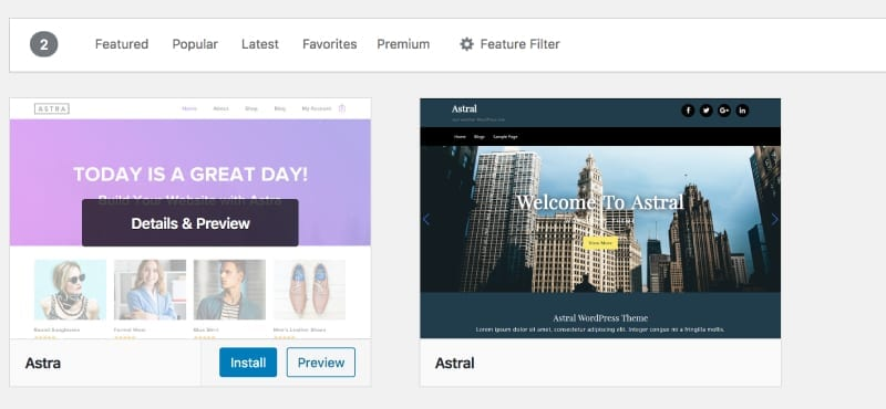 preview or install a WordPress theme