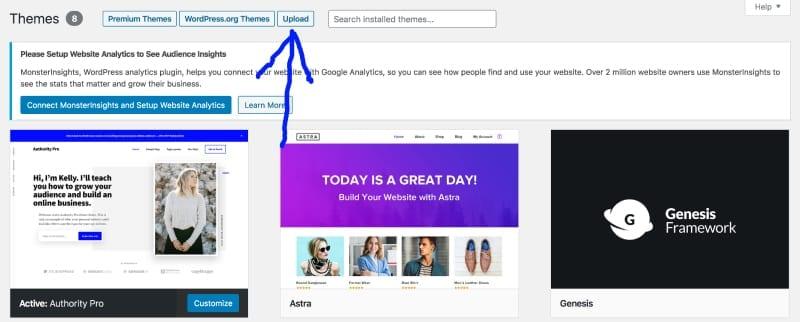 upload new theme button in WordPress