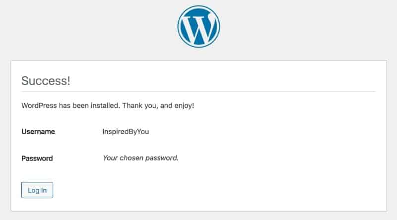 WordPress installed success message