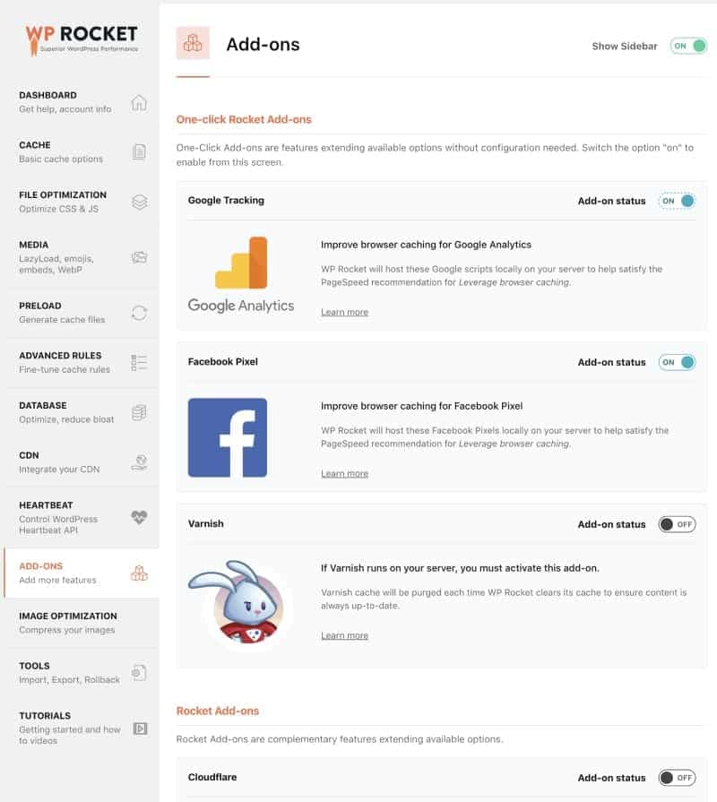 Screenshot of WP Rocket external browser caching settings