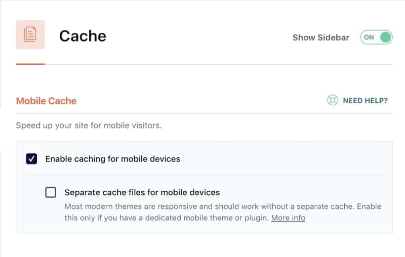 Screenshot of wp-rocket enable caching for separate files on mobile