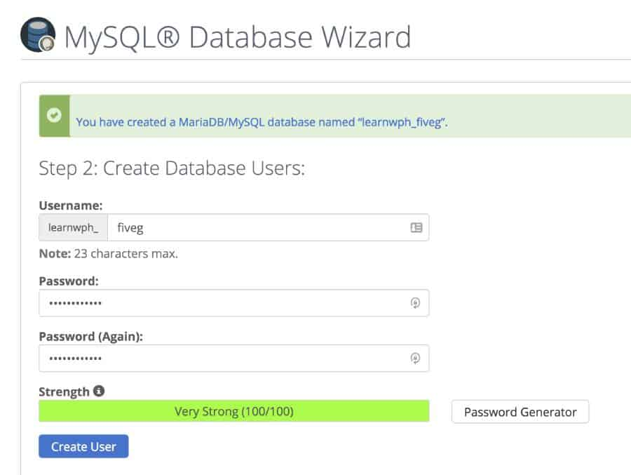 give your database a username