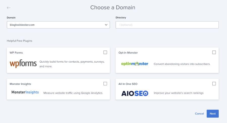 bluehost setting choose a domain name