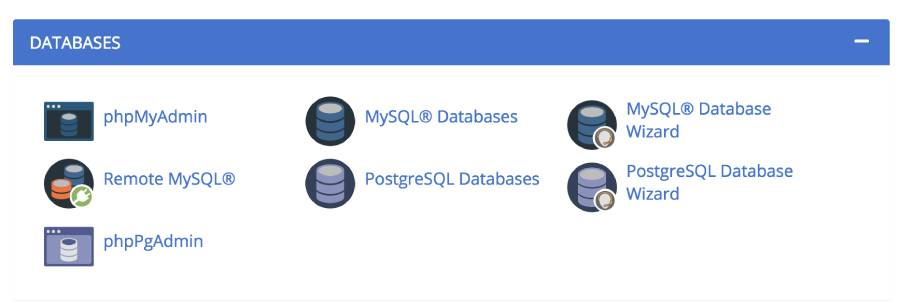 Bluehost's database wizard