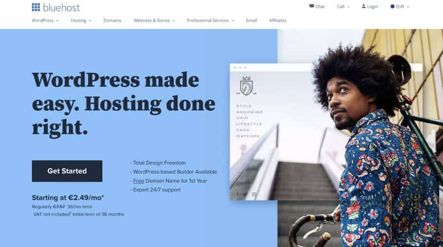 make a website with bluehost
