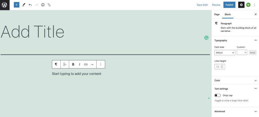 add content and publish a new page
