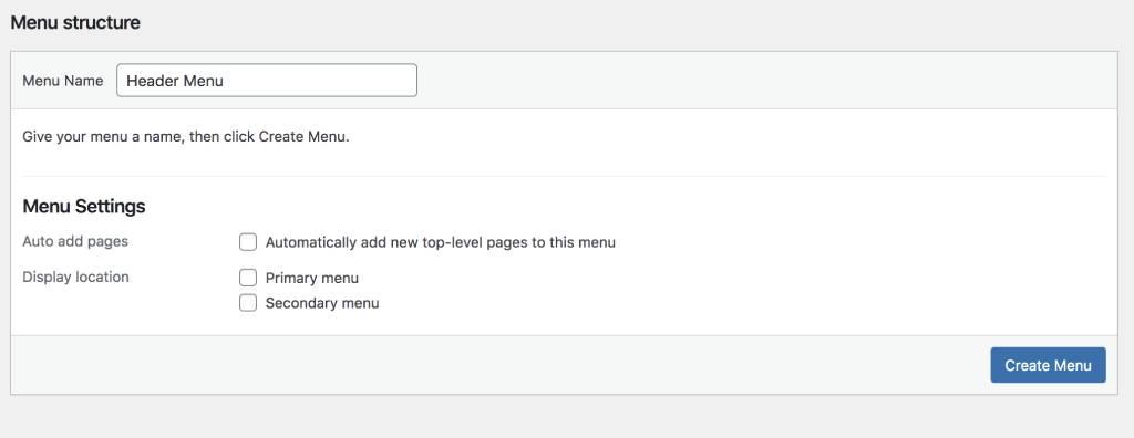 create a website menu