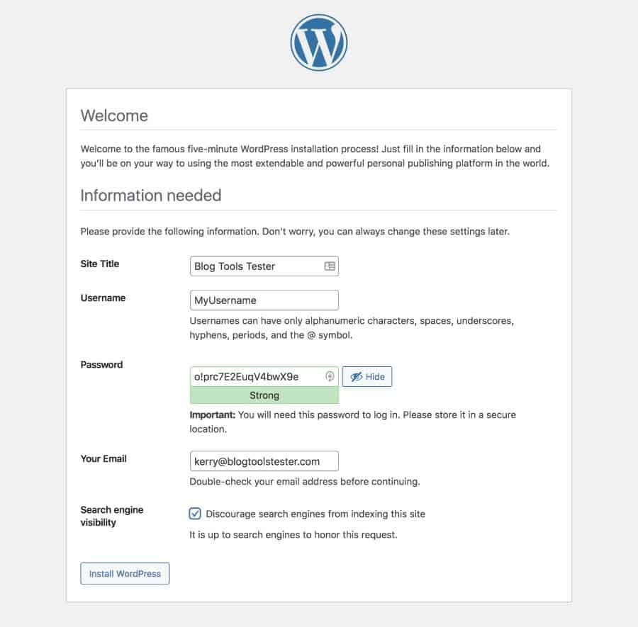famous five-minute WordPress installation