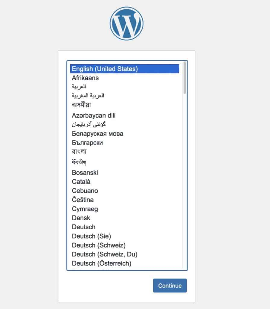 get started with the WordPress installer